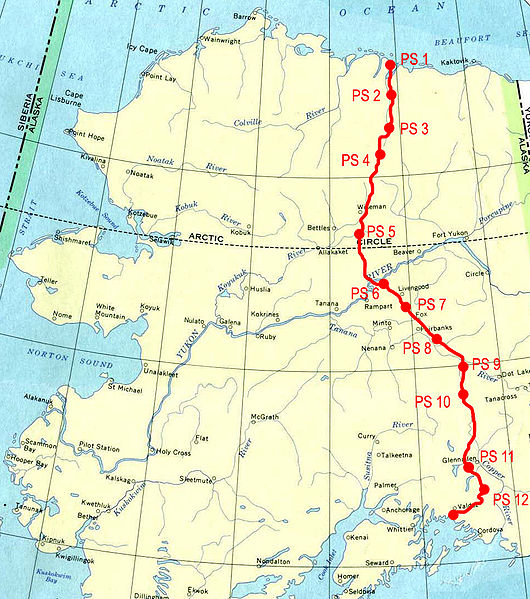 Map of Trans-Alaska Pipeline.