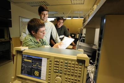 William Headley, a Ph.D. candidate; Claudio da Silva, assistant professor of electrical and computer engineering; and Gautham Chavali, also a Ph.D. candidate, all at Virginia Tech, from left are designing spectrum-sensing wireless systems.