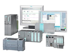 Some products in the Siemens SIMATIC line, including PLCs, operator stations and engineering stations.