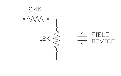 Line fault detection uses two resistors so the line is never open or shorted.