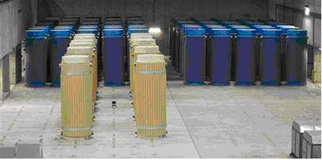 Nuclear radioactive waste storage containers.