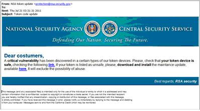 This spoofed NSA page can link readers to a malicious site.