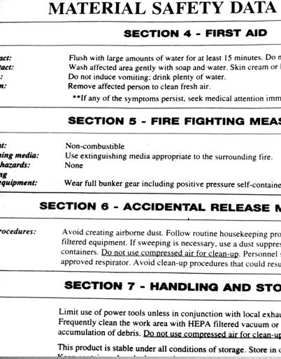 An example MSDS provides guidance for handling a hazardous substance.