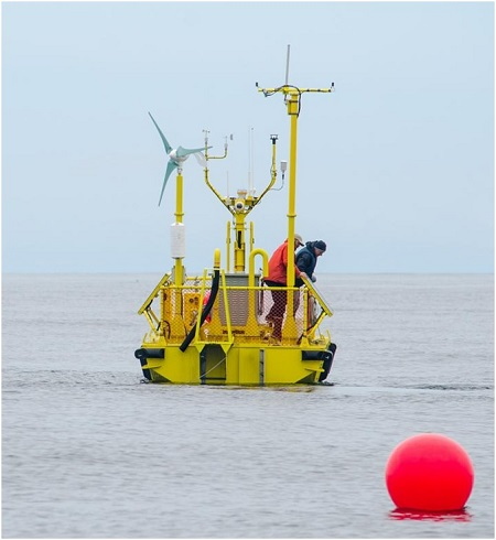 The Ocean Sentinel off the Oregon coast is one of the nation's first wave energy testing devices.  Source: Oregon Sea Grant