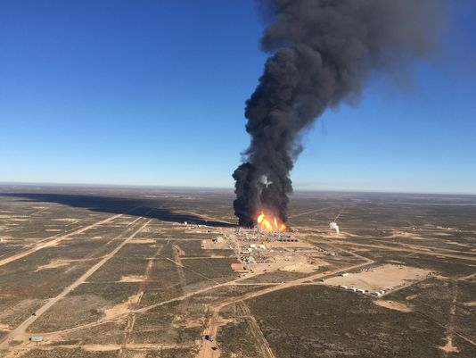 Ariel view of the gas refinery in flames.