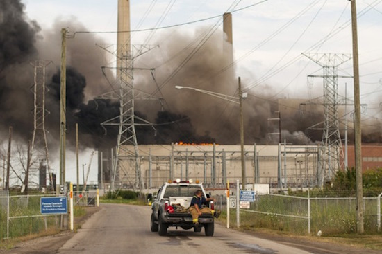 A huge fire at the St. Clair Power Plant in East China Township, MI, force a shut down.
