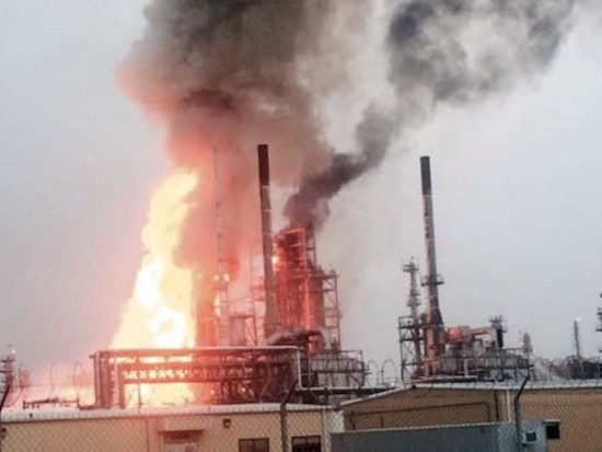 A massive blaze tore through Shell's Motiva refinery in Convent, LA, Thursday.