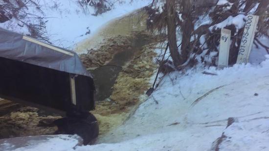 Oil spilled into Ash Coulee Creek northwest of Belfield, ND, last week.