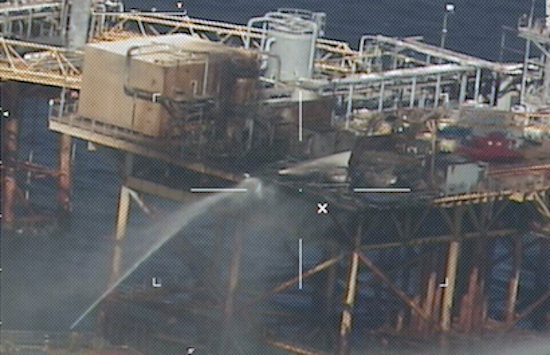 Close up shot by the Coast Guard of damage aboard the Renaissance Offshore production platform that caught on fire Thursday morning.