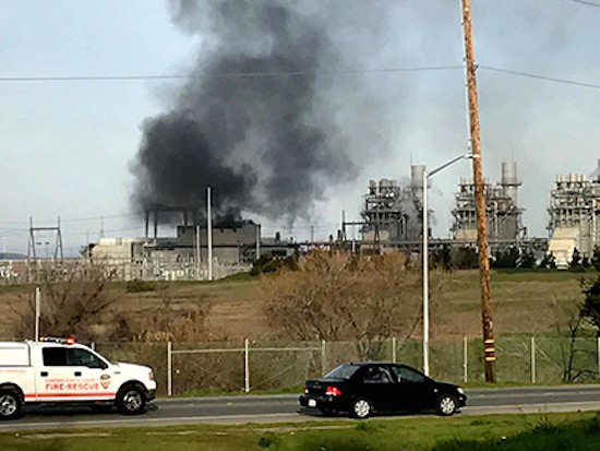 Smoke billows after an explosion at the Delta Energy Center in Pittsburg, CA, Sunday. A steam turbine generator ended up destroyed.