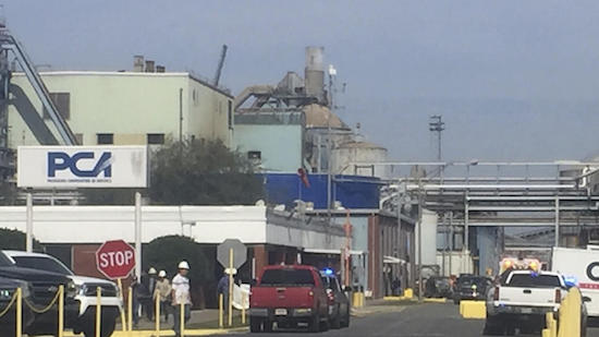 Emergency response personnel were at the scene Wednesday in Deridder, La., after a tank explosion at the PCA Plant.