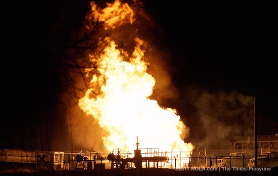 A fire burns at a Phillips 66 pipeline in Paradis, LA, Thursday.